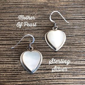 Sterling Silver Mother of Pearl Heart Earrings